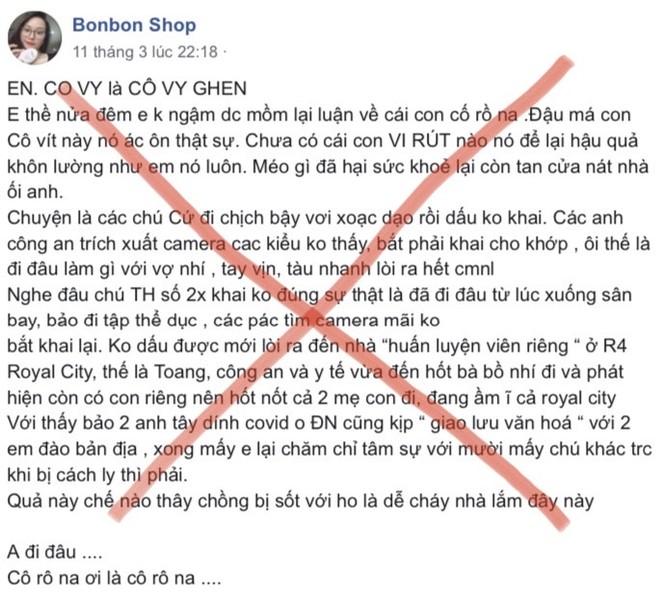 Hình ảnh Facebook của đối tượng Nguyễn Thị Vân đưa thông tin xuyên tạc, bịa đặt trên mạng xã hội