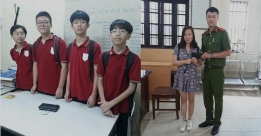 Bốn em học sinh không tham của rơi; và Công an phường Bạch Mai trao trả tài sản cho chị Trang