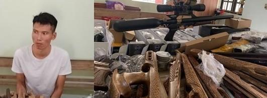 Đối tượng Thực và số súng săn, linh kiện lắp ráp súng bị thu giữ