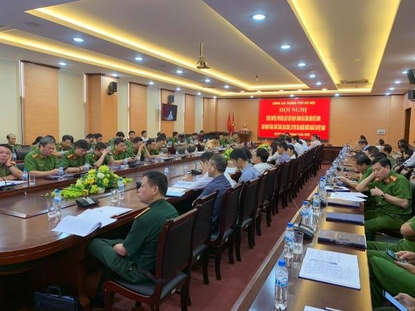 Hội nghị trực tuyến tại điểm cầu Công an Hà Nội