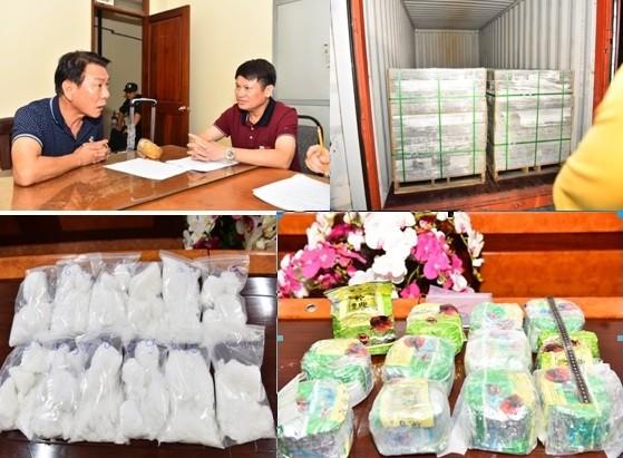 Đại tá Nguyễn Văn Viện (bên phải) - Cục trưởng Cục CSĐT tội phạm về ma túy Bộ Công an đấu tranh với đối tượng Kim Soon Sik; và tang vật vụ án bị thu giữ