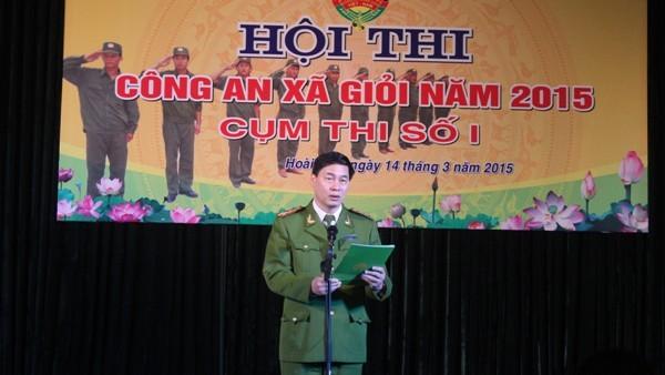 Đại tá Đỗ Đức Quang – Trưởng CAH Hoài Đức phát biểu khai mạc Hội thi CAX giỏi 2015