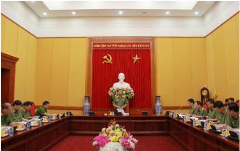 Thượng tướng Tô Lâm, Ủy viên Bộ Chính trị, Bộ trưởng Bộ Công an phát biểu ý kiến tại cuộc họp
