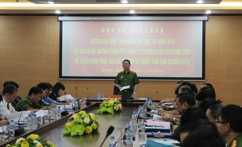Thiếu tướng Đinh Văn Toản, Thủ trưởng Cơ quan Thi hành án hình sự, Phó Giám đốc CATP Hà Nội phát biểu chủ trì hội nghị