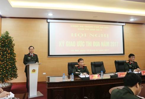 Đại tá Đoàn Ngọc Hùng, Phó Giám đốc CATP phát biểu ý kiến chỉ đạo tại hội nghị