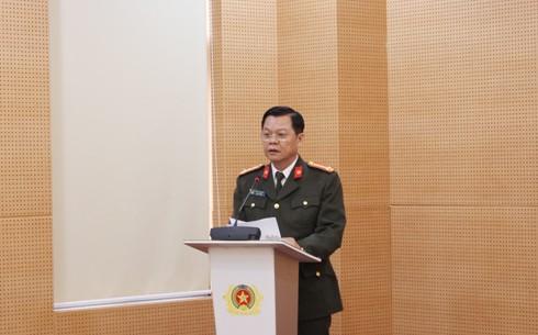 Đại tá Đào Thanh Hải, Phó Bí thư Đảng ủy, Phó Giám đốc CATP phát biểu chỉ đạo tại Hội nghị