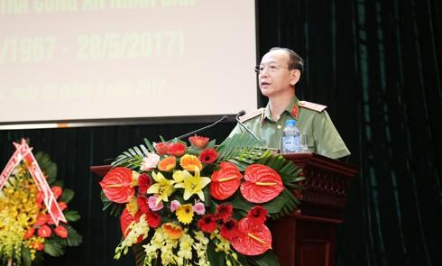 Thiếu tướng Vương Xuân Đồng, Phó Chánh thanh tra Bộ Công an phát biểu tại lễ kỷ niệm