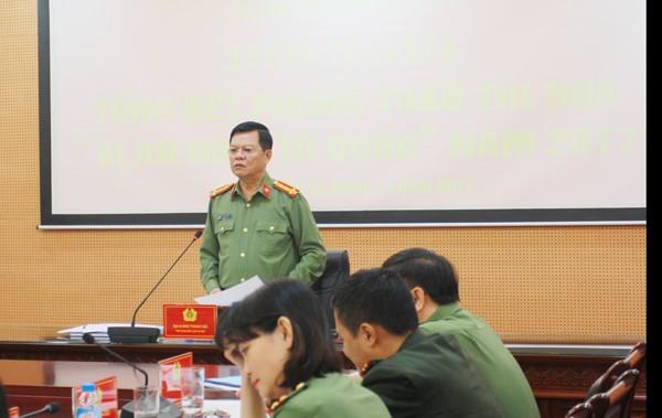 Đại tá Đào Thanh Hải, Phó Giám đốc CATP Hà Nội phát biểu chỉ đạo tại