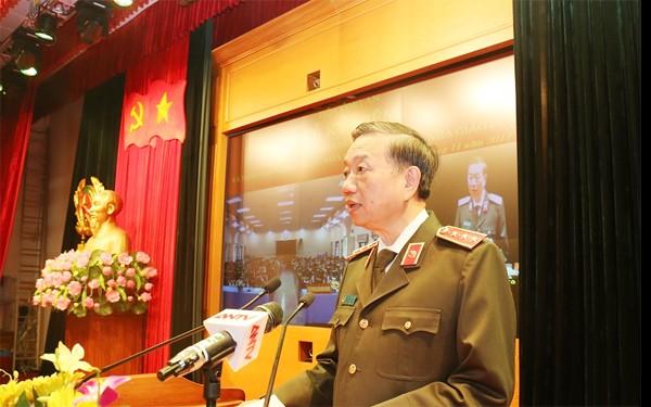 Thượng tướng, GS.TS Tô Lâm, Uỷ viên Bộ Chính trị, Bí thư Đảng ủy Công an Trung ương, Bộ trưởng Bộ Công an phát biểu tại lễ kỷ niệm