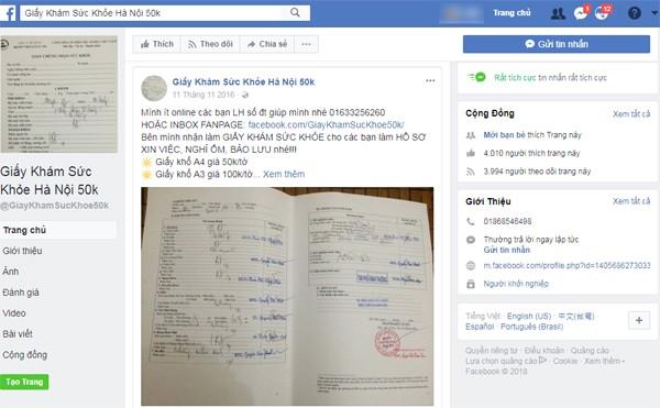 Rao bán công khai giấy khám sức khỏe giả trên mạng xã hội Facebook
