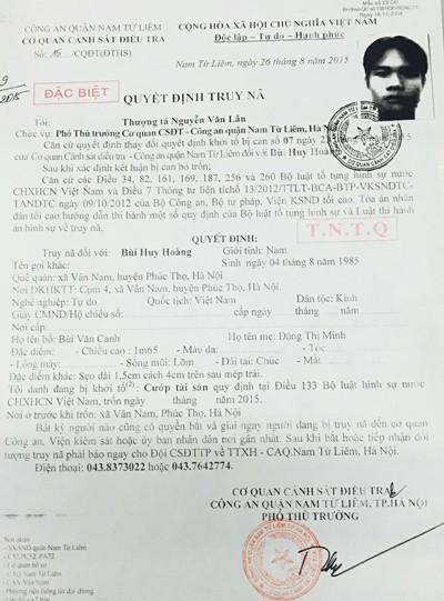 Lệnh truy nã đặc biệt đối tượng Bùi Huy Hoàng của Cơ quan CSĐT - CAQ Nam Từ Liêm