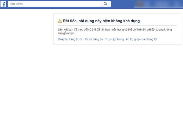 Trang Facebook của công ty đã dừng hoạt động