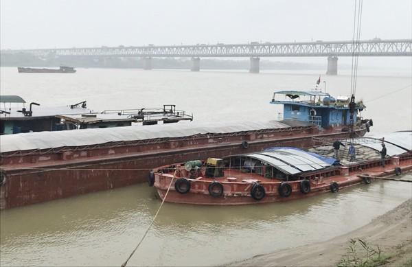 Các tàu khai thác cát trái phép hiện đang bị tạm giữ