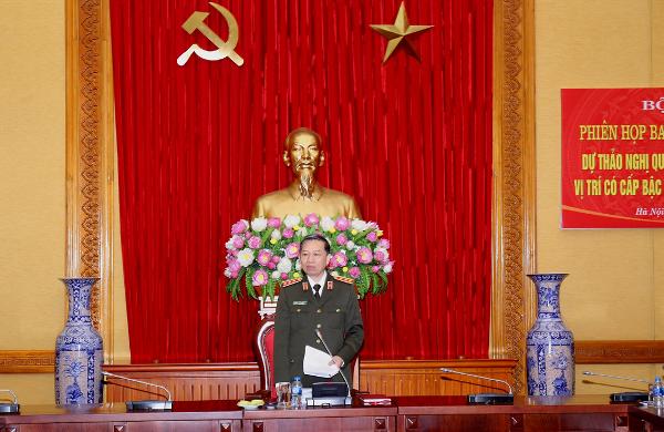 Thượng tướng Tô Lâm, Ủy viên Bộ Chính trị, Bộ trưởng Bộ Công an chủ trì phiên họp