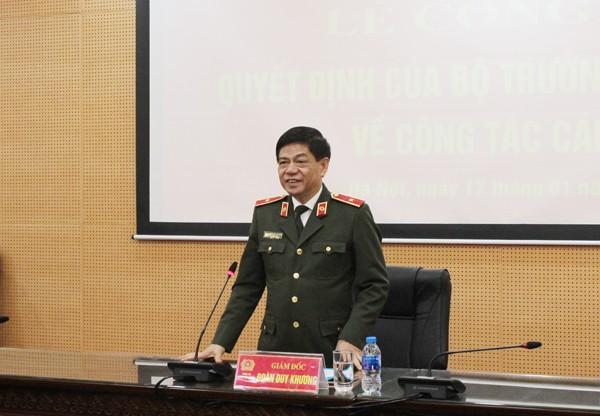 Thiếu tướng Đoàn Duy Khương phát biểu tại lễ công bố quyết định