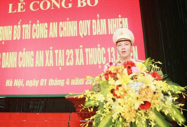 Đại úy Tạ Xuân Huy, Trưởng CAX Tân Minh, huyện Sóc Sơn phát biểu bày tỏ quyết tâm khi nhận nhiệm vụ mới