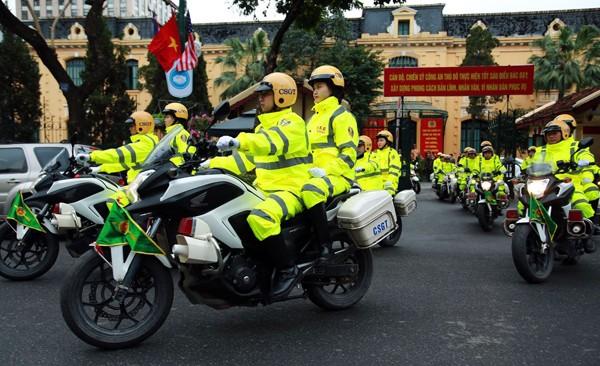 Lực lượng Công an Thủ đô ra quân bảo vệ Hội nghị thượng đỉnh Mỹ - Triều Tiên lần thứ 2 tại Hà Nội