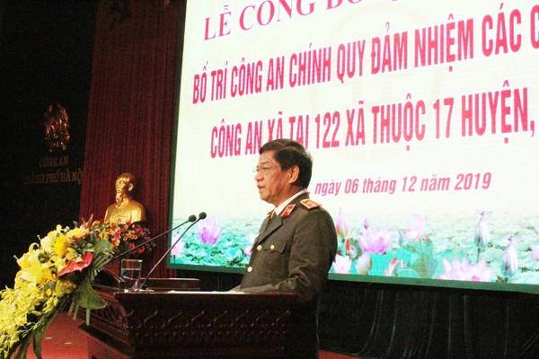 Trung tướng Đoàn Duy Khương, Ủy viên Ban Thường vụ Thành ủy, Bí thư Đảng ủy, Giám đốc CATP Hà Nội phát biểu tại lễ công bố