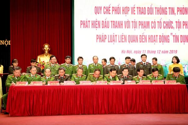 """CATP Hà Nội đã ký quy chế phối hợp với Công an 10 tỉnh, thành phố trong trao đổi thông tin, phòng ngừa, đấu tranh, xử lý với tội phạm và vi phạm pháp luật liên quan đến hoạt động """"tín dụng đen"""""""