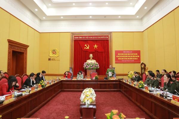 Thượng tướng Lê Quý Vương, Ủy viên Trung ương Đảng, Thứ trưởng Bộ Công an phát biểu cảm ơn đoàn công tác