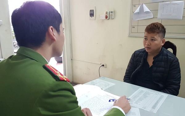Cơ quan CSĐT lấy lời khai đối tượng Nguyễn Xuân Hưng