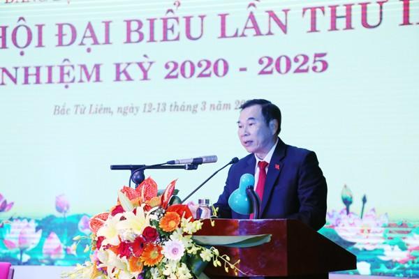 Ông Trương Quang Thiều, Bí thư Quận ủy Bắc Từ Liêm phát biểu chỉ đạo tại Đại hội
