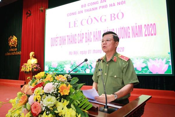 Thiếu tướng Đào Thanh Hải, Phó Bí thư Đảng ủy, Phó Giám đốc CATP phát biểu tại buổi lễ công bố quyết định