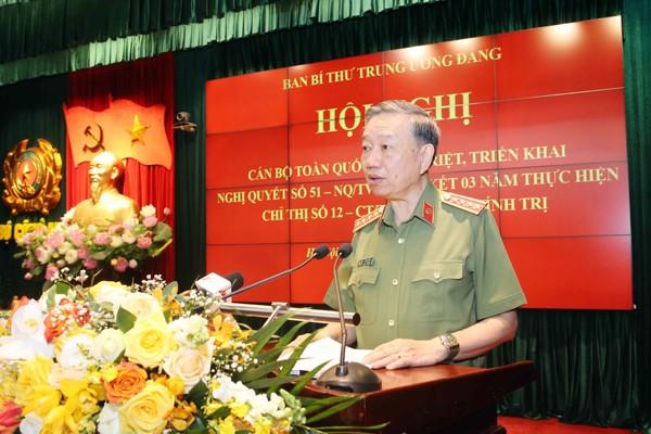 Đại tướng Tô Lâm, Ủy viên Bộ Chính trị, Bộ trưởng Bộ Công an phát biểu khai mạc hội nghị