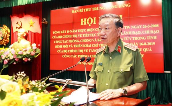Đại tướng Tô Lâm, Ủy viên Bộ Chính trị, Bộ trưởng Bộ Công an phát biểu tại hội nghị