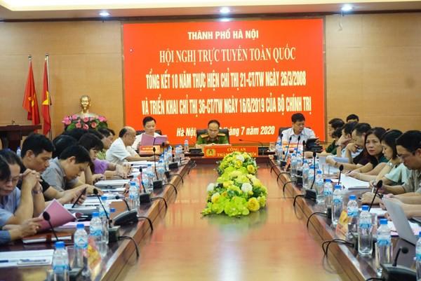 Hội nghị được tổ chức dưới hình thức trực tuyến đến công an các tỉnh, thành phố (hình ảnh tại điểm cầu CATP Hà Nội)