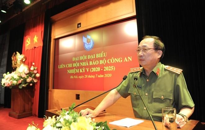 Thượng tướng Nguyễn Văn Thành, Ủy viên Trung ương Đảng, Thứ trưởng Bộ Công an phát biểu tại Đại hội