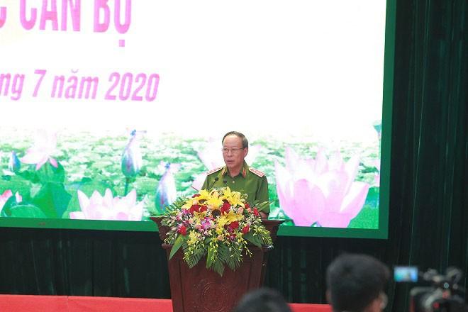 Thượng tướng Lê Quý Vương, Ủy viên Trung ương Đảng, Phó Bí thư Đảng ủy Công an Trung ương, Thứ trưởng Bộ Công an phát biểu tại lễ công bố
