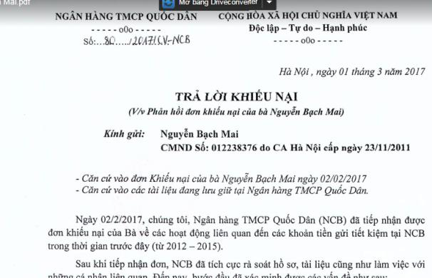 Biên bản trả lời khiếu nại của NCB đối với bà Mai