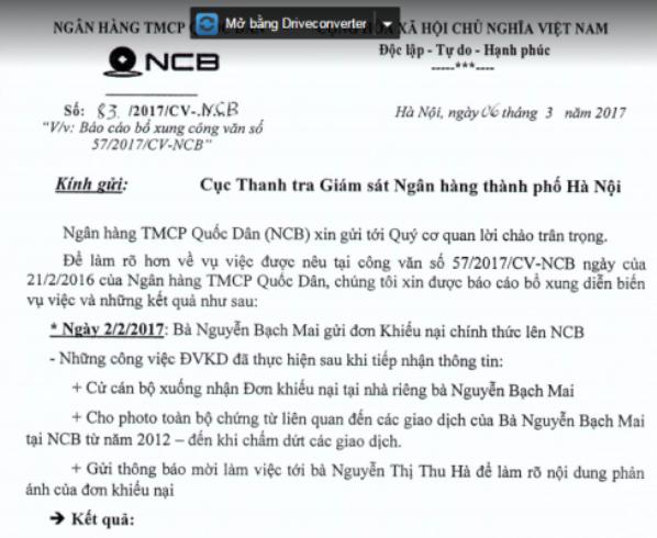 Biên bản giải trình của NCB