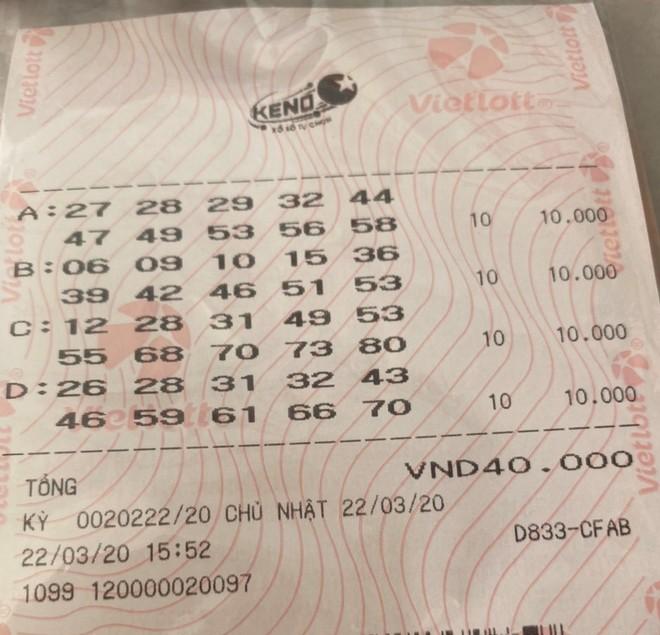 Tấm vé xổ số tự chọn Keno trúng thưởng bậc 10/10 trị giá 2 tỷ đồng