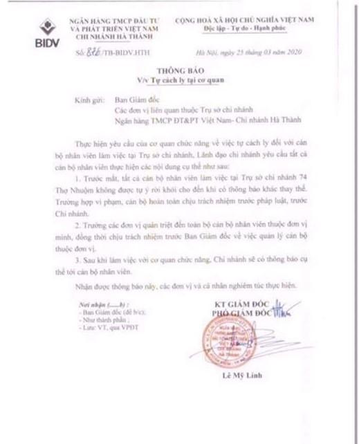 Văn bản thông báo của BIDV chi nhánh Hà Thành