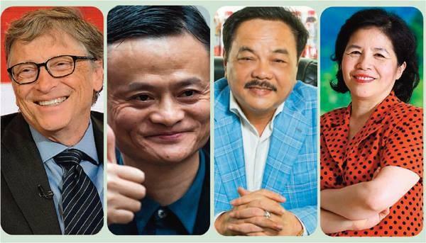 Từ trái qua: Bill Gates, Jack Ma, Trần Quí Thanh, Mai Kiều Liên - những tấm gương tinh thần khởi nghiệp thực sự trân quý