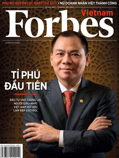 Chủ tịch Vingroup Phạm Nhật Vượng là người Việt Nam đầu tiên có tên trong danh sách tỷ phú của Forbes