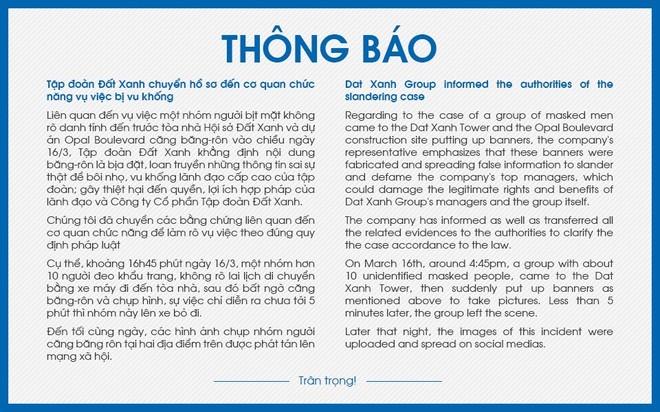 Thông báo của Tập đoàn Đất Xanh về vụ việc, được đăng trên website Tập đoàn bằng tiếng Việt và tiếng Anh