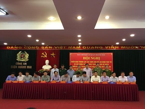 3 cụm liên kết ký Quy chế phối hợp đảm bảo ANTT trên địa bàn quận Hoàng Mai