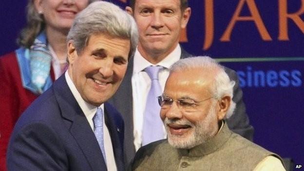 Ngoại trưởng Mỹ John Kerry và Thủ tướng Ấn Độ Modi