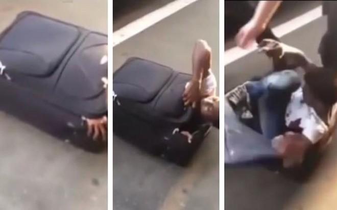 Người đàn ông bò ra khỏi chiếc valy