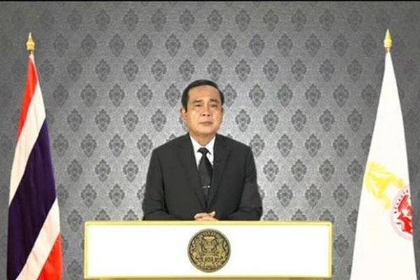 Thủ tướng Prayut Chan-o-cha phát biểu trước toàn dân sau khi Nhà vua Bhumibol Adulyadej băng hà