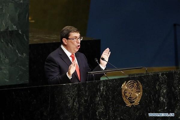 Bộ trưởng Ngoại giao Cuba, Bruno Rodriguez phát biểu tại Đại hội đồng LHQ ngày 26-10
