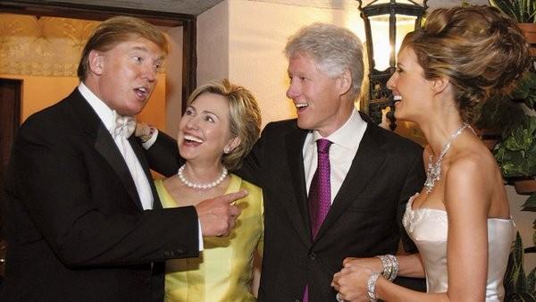 Vợ chồng cựu Tổng thống Bill Clinton tham dự đám cưới của ông Trump