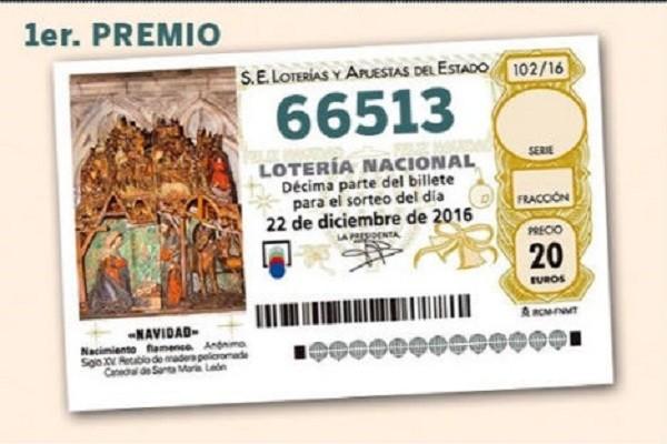 Dãy số trúng thưởng xổ số El Gordo năm nay là 66513