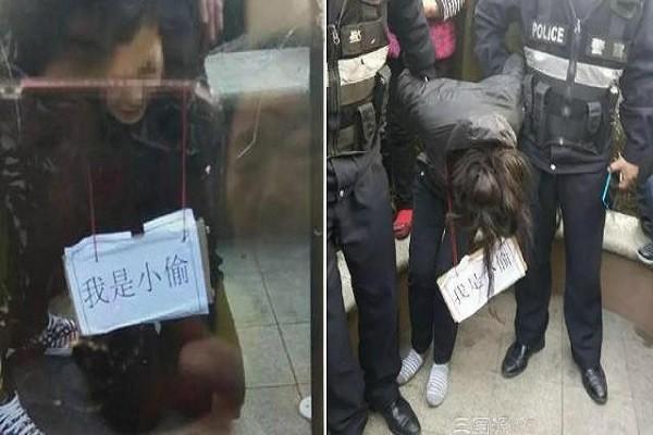 """Người phụ nữ bị buộc phải đeo tấm biển: """"Tôi là kẻ trộm"""""""