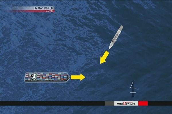 Ảnh mô phỏng hướng di chuyển của hai tàu trước khi xảy ra va chạm