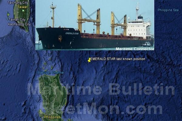 Bản đồ mô tả khu vực tàu Emerald Star bị chìm ngoài khơi Philippines