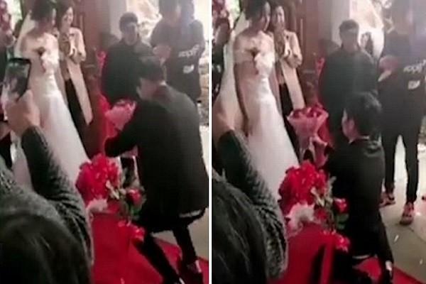 Cô dâu từ chối nhận bó hoa từ chú rể